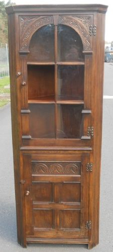 Reproduction Carved Oak Standing Corner Cupboard